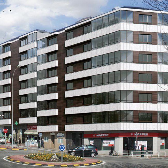 Integración de edificio previa rehabilitación de fachada
