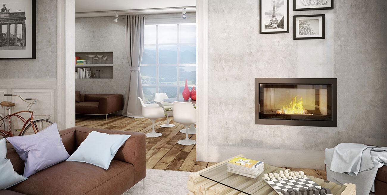 salon con estufa de pared