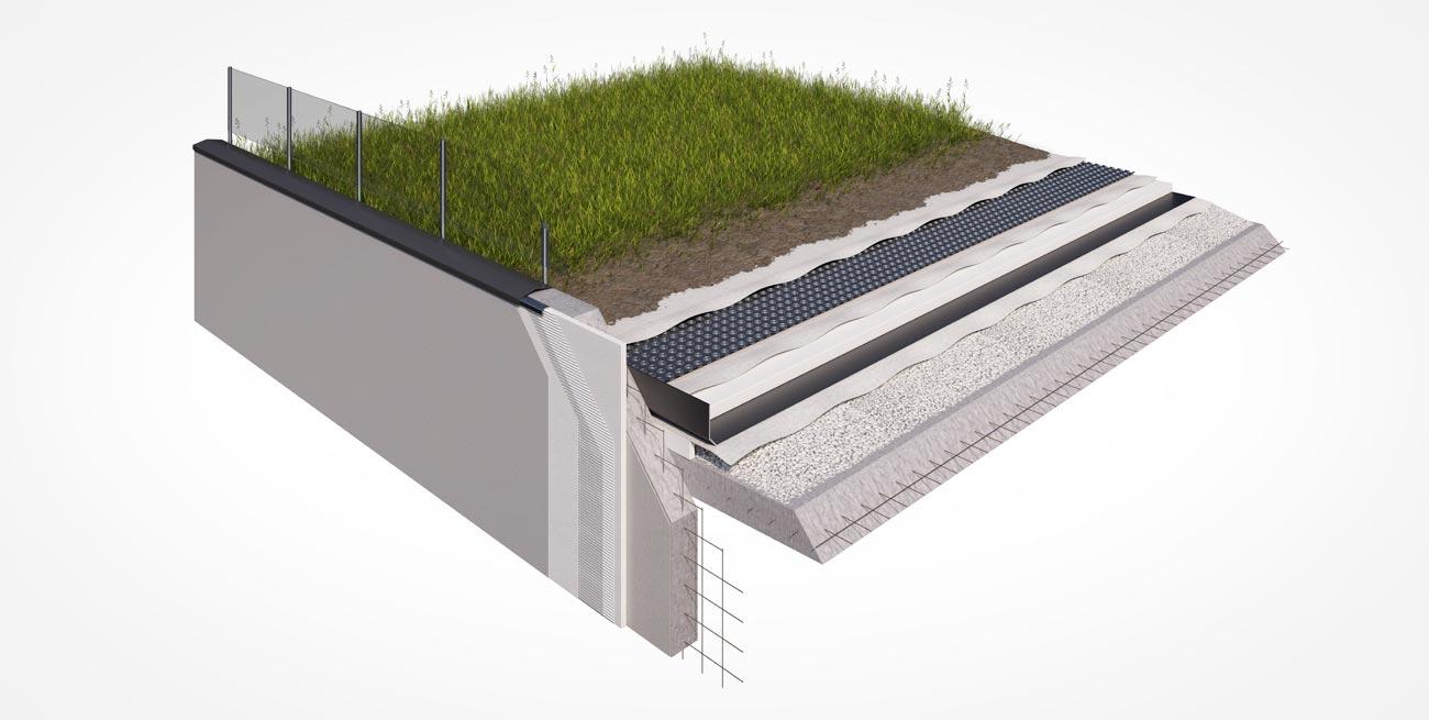 Sección con cortes de suelo